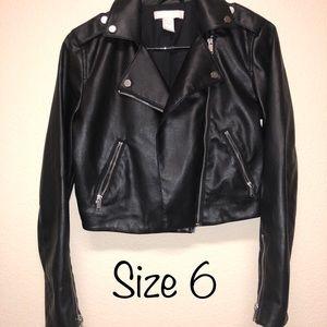 H&M Black Leather Jacket - Size 6